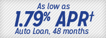 As low as 1.79% APR*** Auto Loan, 48 months
