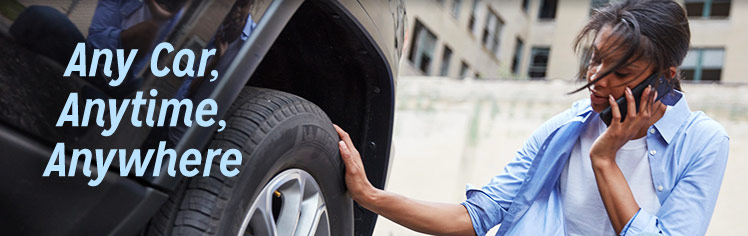 Roadside assistance, including towing, in any car, anytime, anywhere